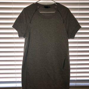 BCBG Maxazria Grey Shoulder Zipper Dress